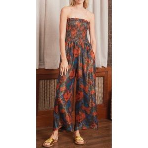 Anthropologie A Peace Treaty Floral Lurex Jumpsuit